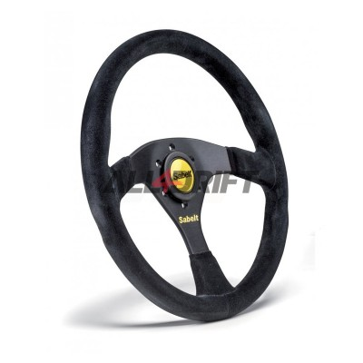 Suede leather sports steering wheel SABELT - 350 mm, flat