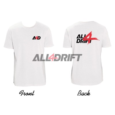 T-shirt white men's motif All4Drift upgrade 01 - print on both sides