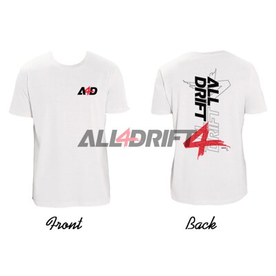 T-shirt white men's motif All4Drift upgrade 02 - print on both sides